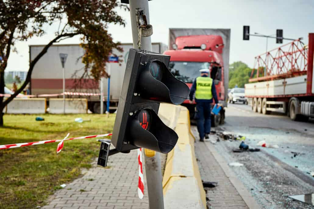 Semi truck accident at an intersection